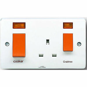 Crabtree-4521-31-Cooker-Control-Unit-45-amp-with-13-amp-Socket-and-Neons