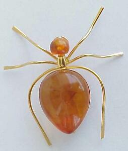 Russia Soviet Baltic Sea Amber Gold Spider Insect Brooch Jewelry 老琥珀 Pin Order Choice Materials Antiques Vintage & Antique Jewelry