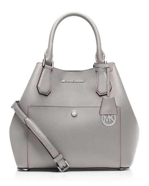 arrives fair price big sale Michael Kors Greenwich Large Saffiano Leather Grab Bag Pearl Grey Silver