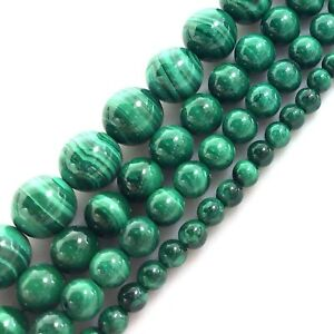 Gemstone-Natural-Green-Malachite-Round-Spacer-Loose-Beads-15-034-4mm-6mm-8mm-10mm