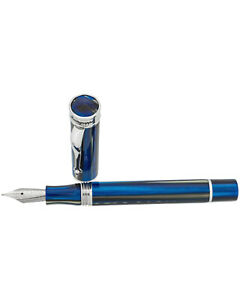 NEW-Montegrappa-Ducale-Murano-Black-amp-Navy-Resin-amp-Steel-M-Fountain-Pen-R-340