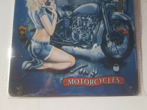 Harley Davidson Denim Girl Metal Sign Plaque Retro Man Cave Garage Shed Vintage