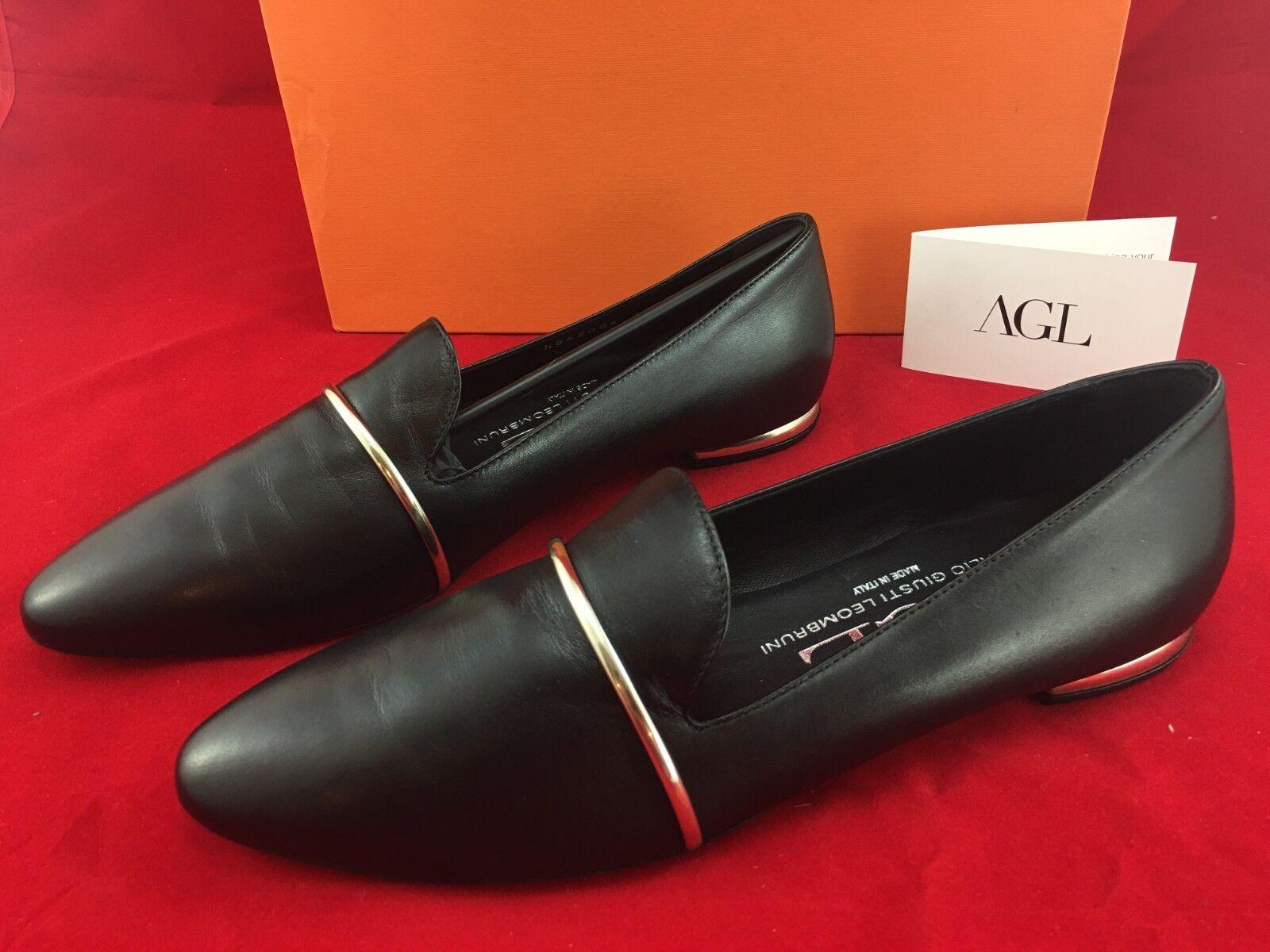 AGL Attilio Giusti Leombruni Smoking Slippers Flats 39 EUR 9 US Black Leather