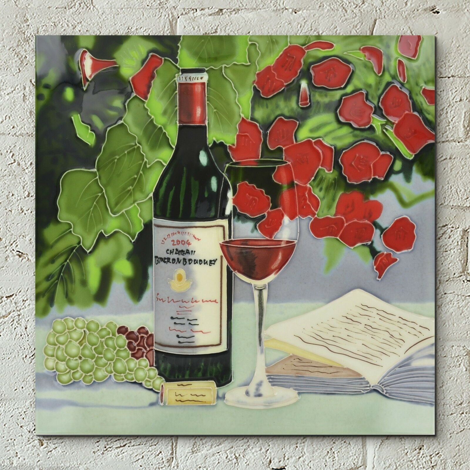 rot Wine Flowers Ceramic Wall Tile Picture Kitchen Plaque Glazed 12x12 05640