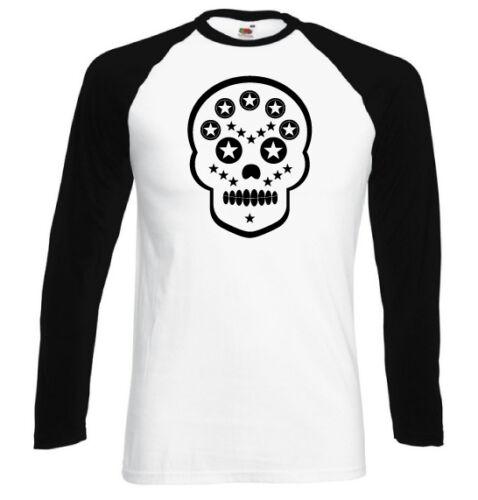 T-shirt contrasté homme blanc//noir manches longues SKULL ART #1