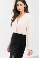 Blush Black Surplice Bodysuit Long Sleeves With Bows Snaps Pleated Thong S M L