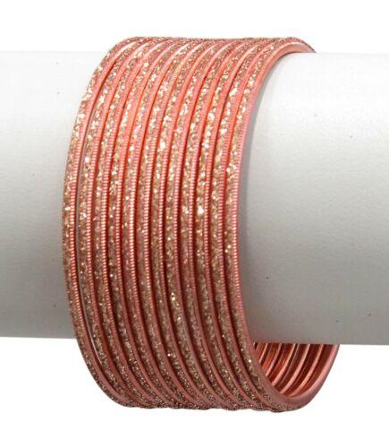 Indian Bollywood Matching Metal Sparkle Bangle Bracelets for Women Set of 12.