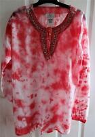 - Oso Casuals Cotton Gauze 3/4 Sleeve Embellished Tie-dyed Tunic - Sz M