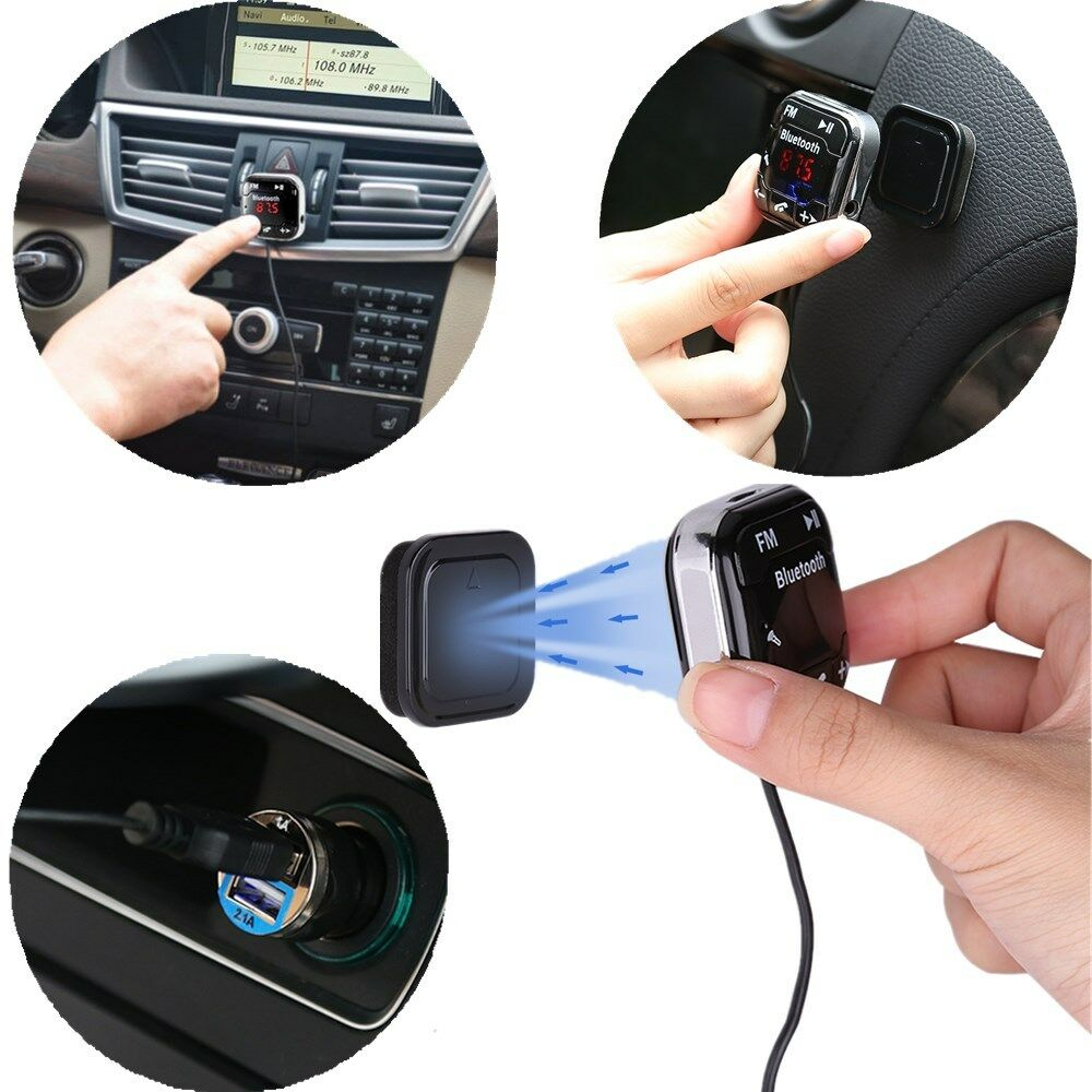 Bluetooth Magnetic FM Transmitter Car Kit USB Charger SD MP3 Player Handsfree 2