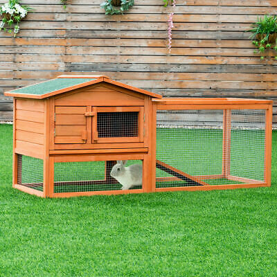 Pawhut 91 Deluxe Large Wooden Bunny Rabbit Hutch Chicken Coop W Outdoor Run For Sale Online Ebay