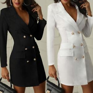 Women-Short-Bodycon-Blazer-Double-Breasted-Long-Sleeve-V-Neck-Work-Mini-Dress