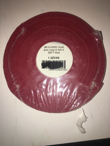 "Reclosable Fastener 1//2/"" x 50 ft Red 3M  SJ3000 RED  3ZVX6"