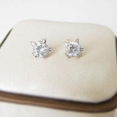 925 Sterling Silver Cat Design Purple Crystal Ear Stud Earrings Women Gift