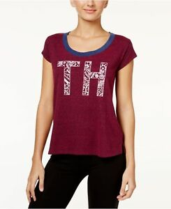Tommy-Hilfiger-Red-Plum-Fashion-Lounge-Flocked-Logo-NWT-Women-039-s-Tee-Shirt