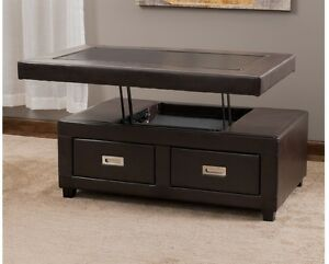 Image Is Loading Leather Lift Top Coffee Table Storage Drawers Furniture