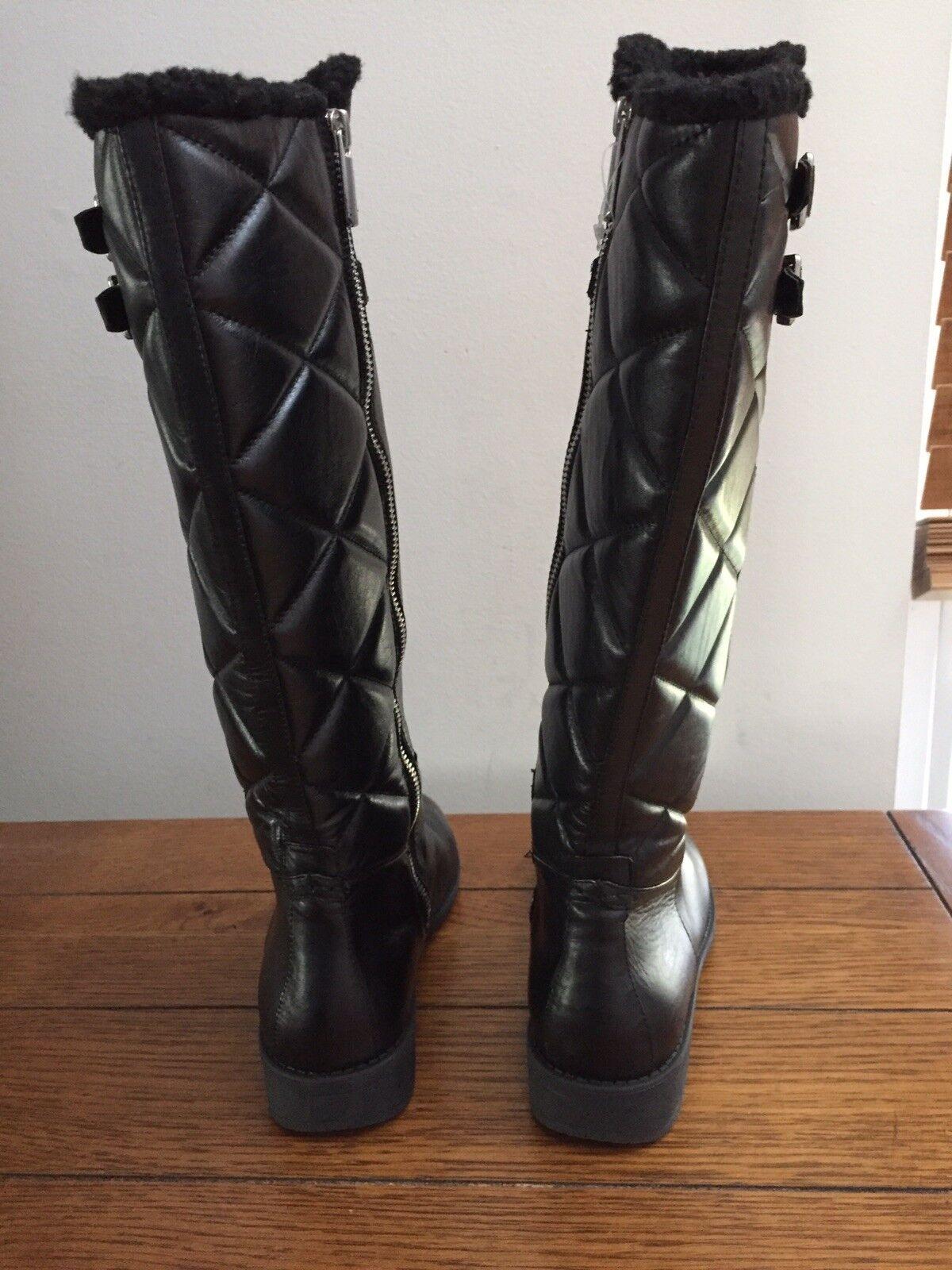 Taryn pink Arnie Size 9 Black Leather Knee High High High Waterproof Rain Boots fed493