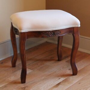 Wood Vanity Stool Ottoman Carved Upholstered Footstool Bench Seat Chair Padded