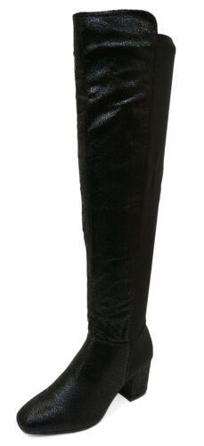 WOMENS BLACK ELASTIC PANEL KNEE-HIGH ZIP-UP COMFY RIDING BOOTS SHOES SIZES 3-8