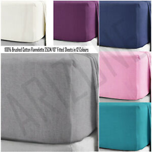 100-Brushed-Cotton-Flannelette-Fitted-Sheets-25CM-10-034-Box-Fit-in-12-Colours