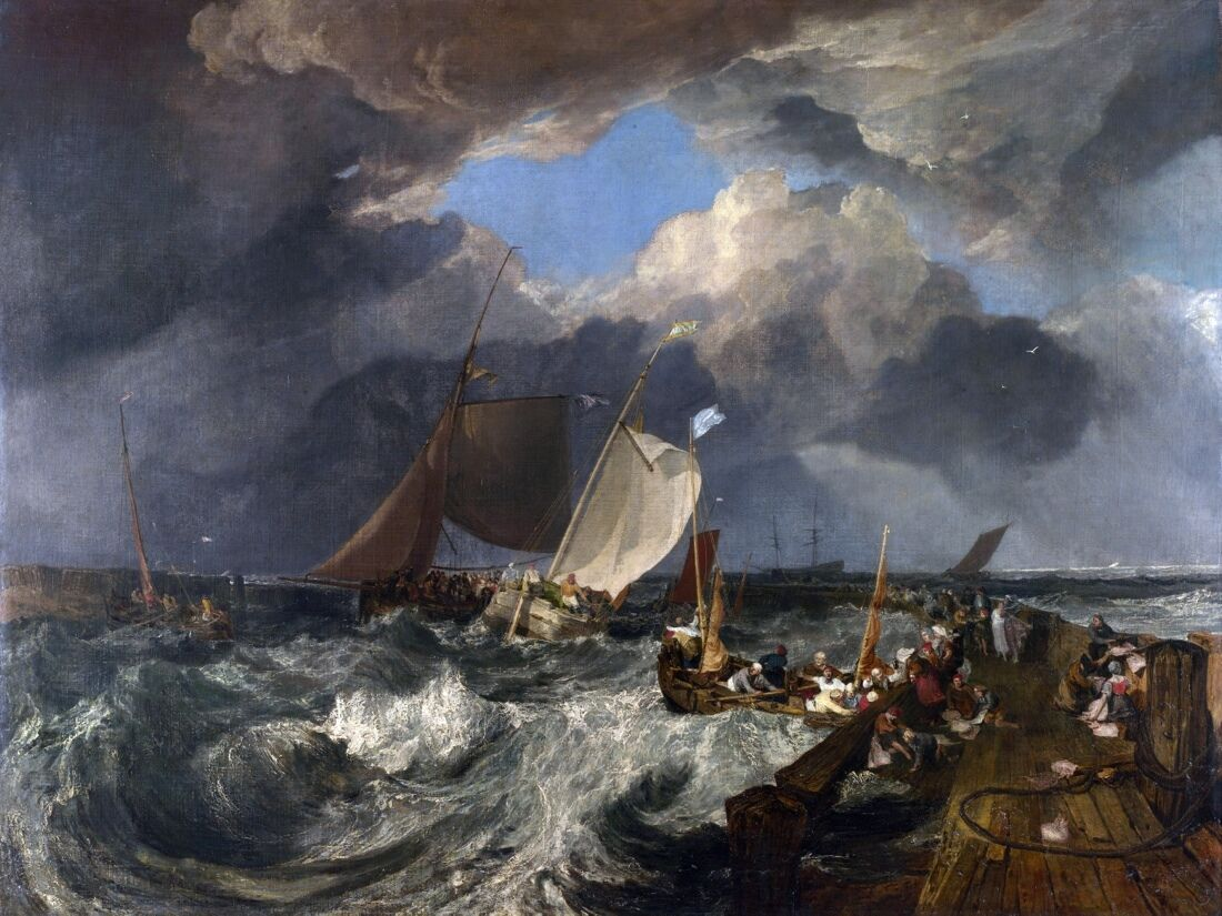 6523.Ships with sails in turbulent water.cloudy skies.POSTER.art wall decor