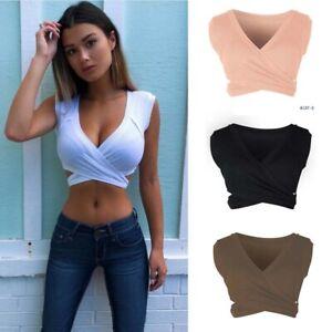 Tops-Shirt-Women-Bandage-Blouse-V-Neck-Tank-Vest-Casual-Short-Crop-Sleeveless