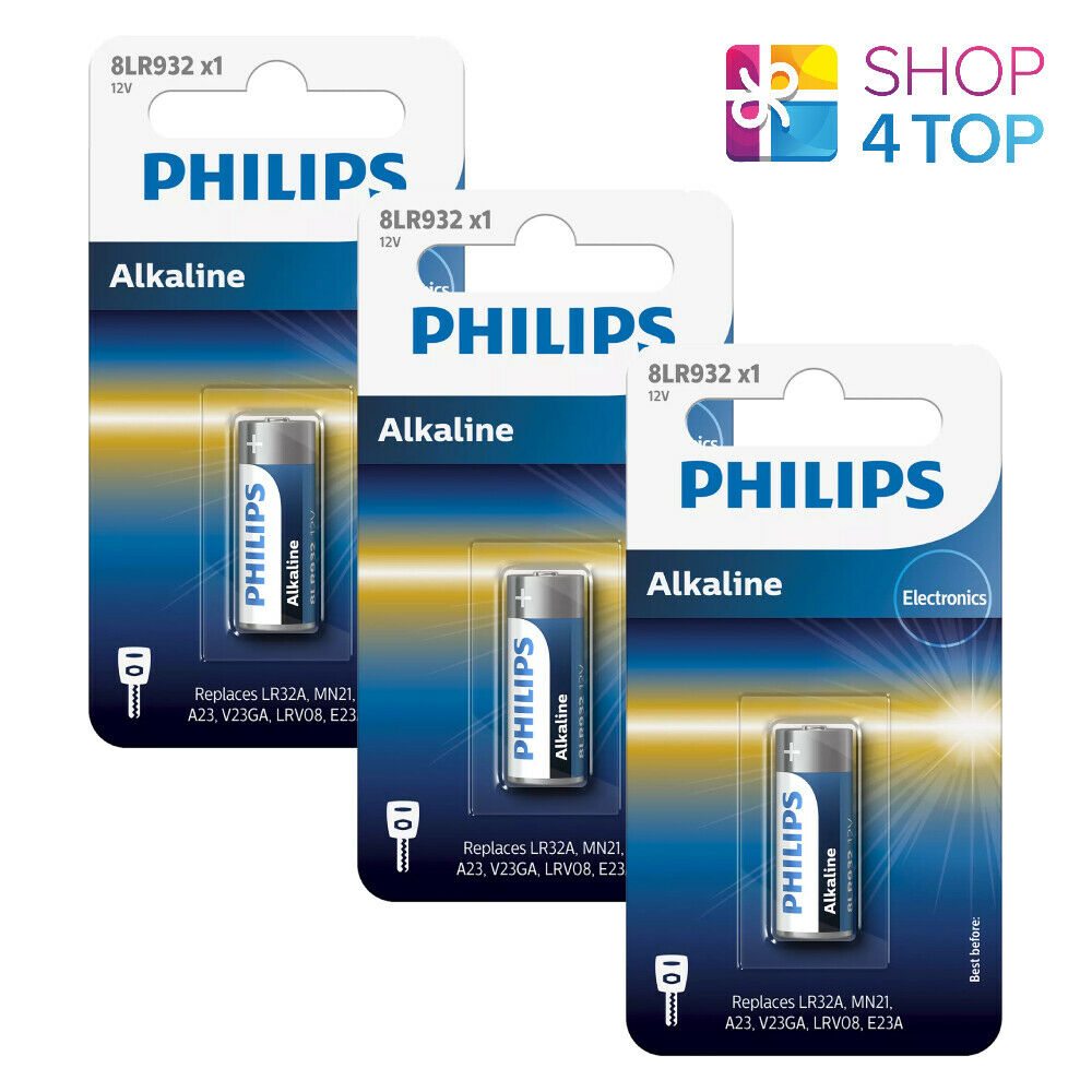 3 Philips Alkaline 8LR932 Battery 12V LR23A MN21 A23 1BL Batteries Exp 2024 New