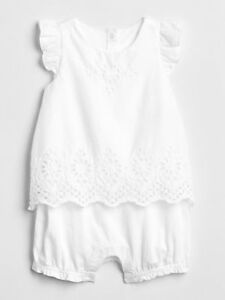 06437e1b587 Baby Gap NWT White Eyelet Flutter 2-in-1 Portrait One-Piece Romper 3 ...