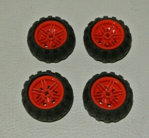 4 x LEGO Orange Wheel 30.4mm D x 20mm TRUCK AND CAR