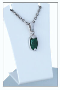 Smaragd-Cabochon-8ct-tiefes-Gruen-Kolumbien-Anhaenger-Silber-SALE