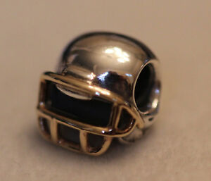 bae812cfa Image is loading AUTHENTIC-PANDORA-790570-RETIRED-FOOTBALL-HELMET -STERLING-AND-