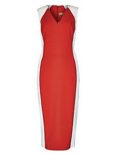 New-M-amp-S-Per-Una-Speziale-Orange-amp-White-Colour-Block-Dress-Sz-UK-18