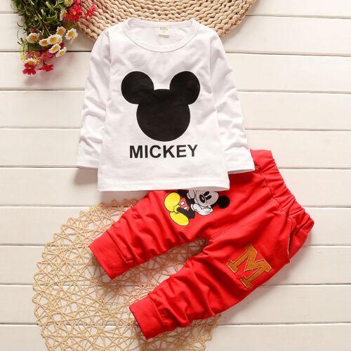 3 PCS Kids Baby Boys Girls Winter Mickey Mouse Hooded Coat T-shirt Pants UK