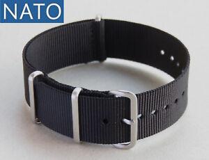 BRACELET-MONTRE-NATO-18mm-noir-orologio-cinturino-plongee-militaire-militare