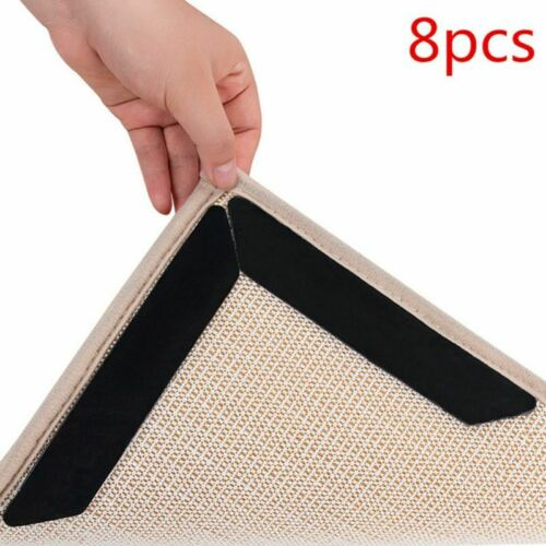 8Pcs Rug Gripper Anti Curling Non Slip Carpet Tape Anchors Super Sticky Holders