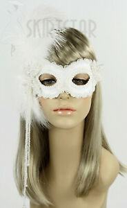 Handmade in USA Masquerade Mask Pearl Off White Feather Wedding Bride Costume