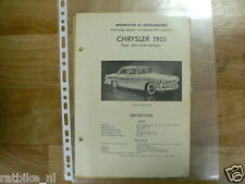 CHUK4A-CHRYSLER US NEW YORKER DE LUXE 1955 -INFO TECHNICAL CAR