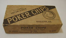 Vintage Box Styrene Inter-lock Poker Chips Regulation Size Drueke & Sons USA