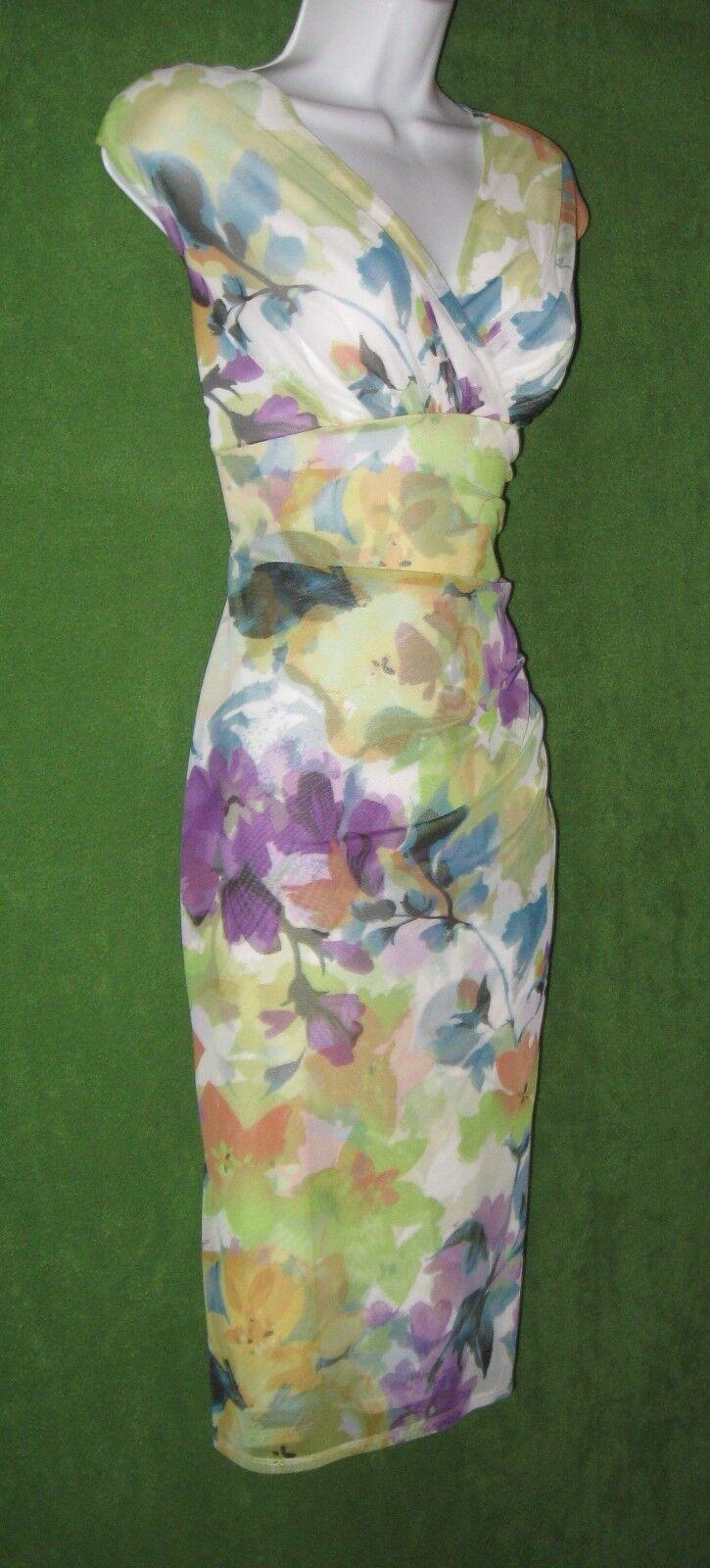 London Times Multi-Farbe Floral Stretch Mesh Sheath Work Social Dress 8