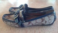 Women's Coach Sharin Khaki Brown Signature Loafers Shoes US S.7B Pre-Owned
