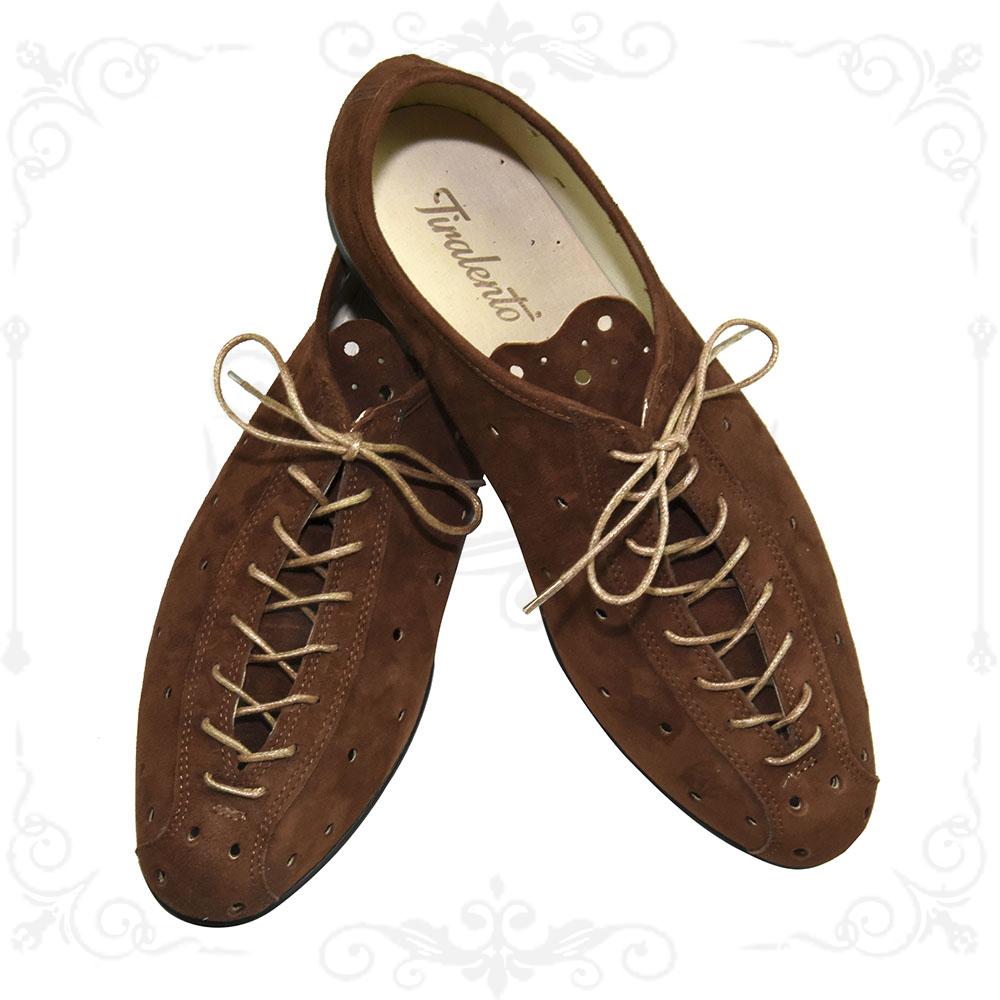 Scarpe Da Passeggio In Camoscio Tabacco Moda Vintage Made In Italy Shoes