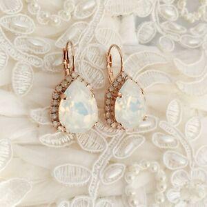 177a28cc49285e Image is loading White-Opal-Teardrop-Earrings-Made-With-CRYSTALLIZED- Swarovski-