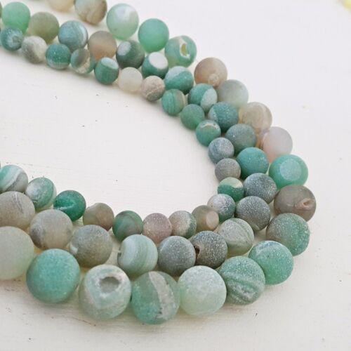 Nellys precio especial achat drusenachat 8//10//12mm verde piedras preciosas perlas Strang
