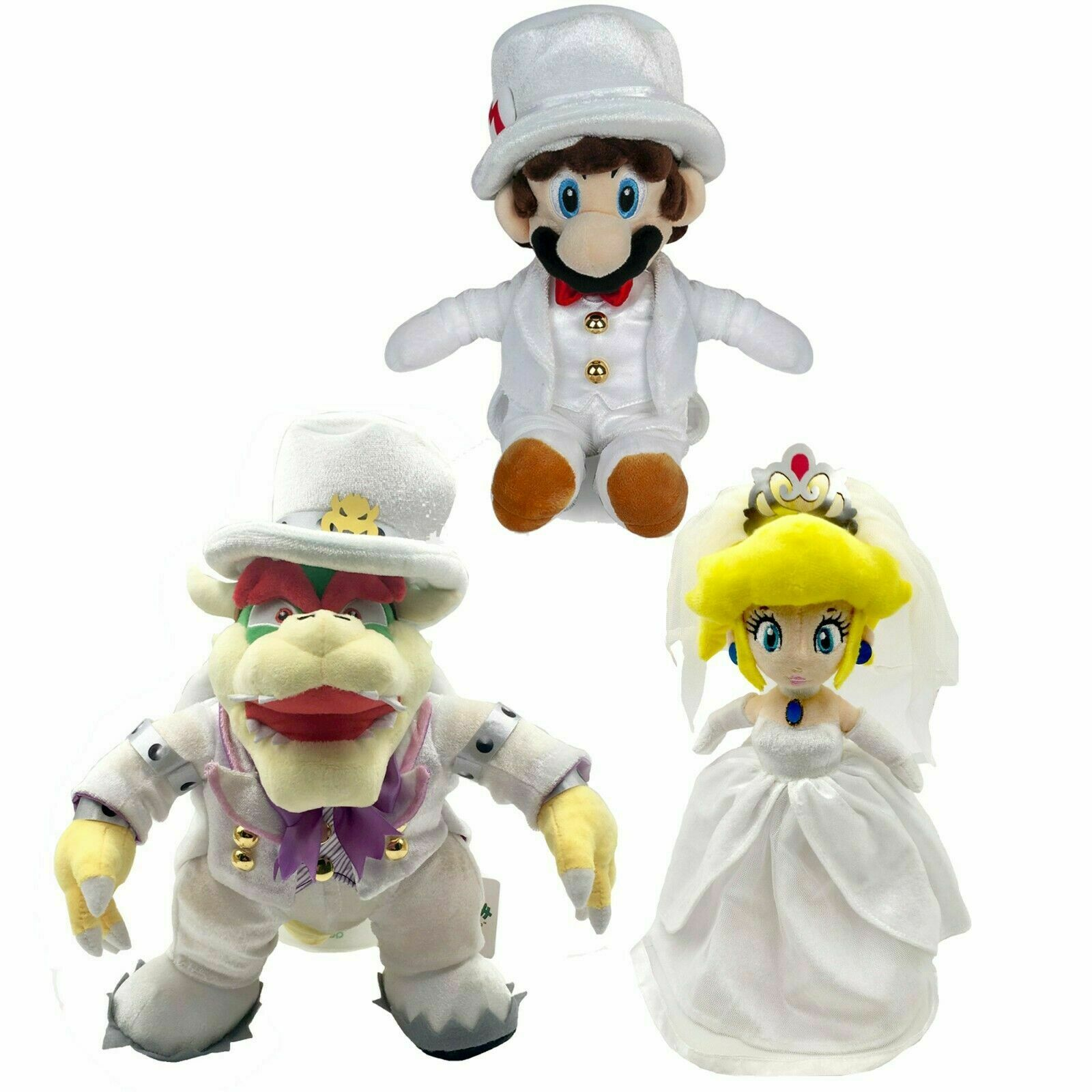 3X Super Mario Odyssey Bowser Peach Mario Wedding Dress Plush Toy Figure Doll