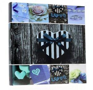 Blue-Slip-In-Photo-Album-500-6-034-x-4-034-Photos-Memo-Wedding-Home-Heart-Love-Gift