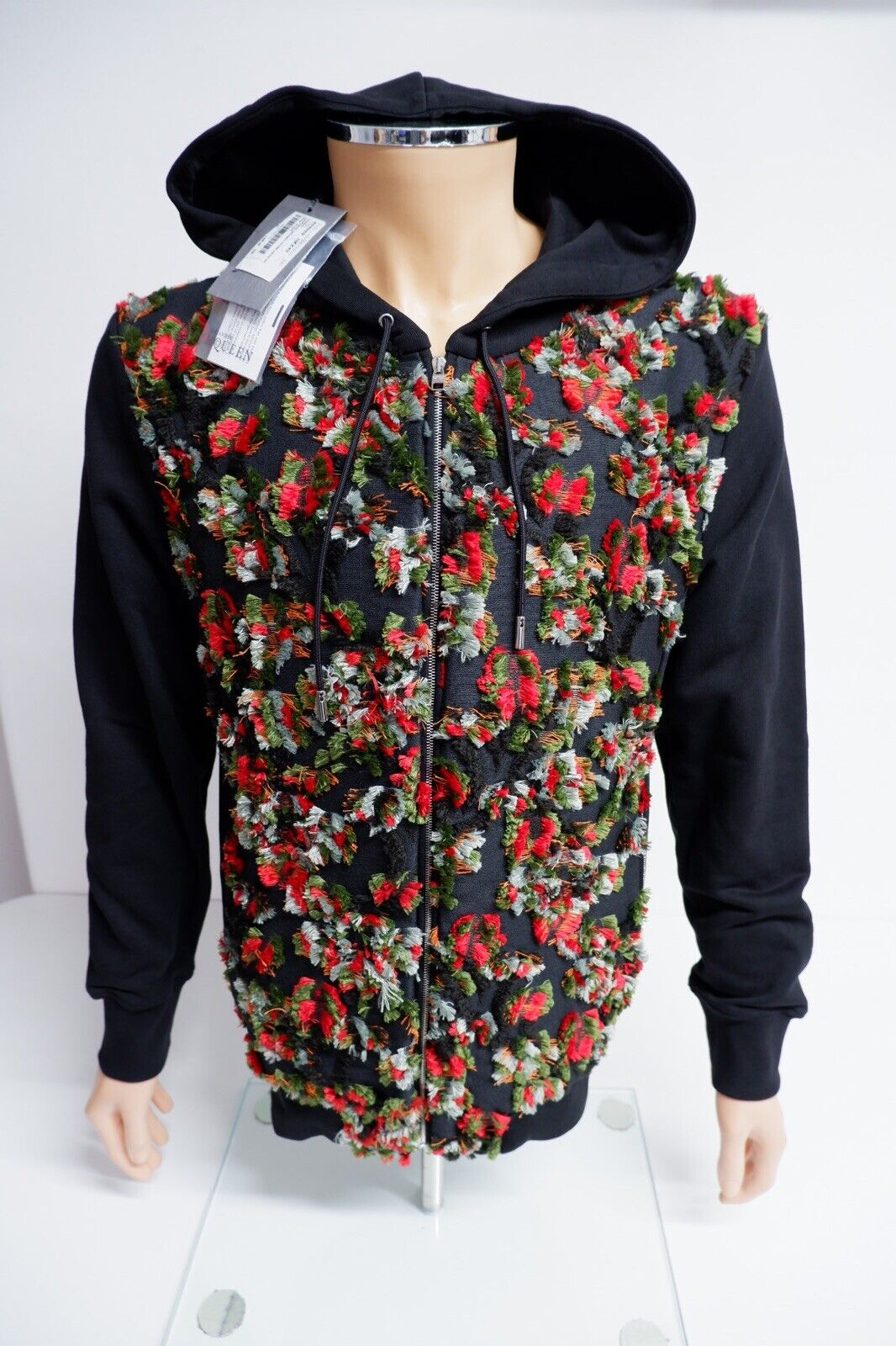 """Alexander McQueen Black Hoodie Bnwts Size L Large Men's P2p 22"""" Inches Loopback"""
