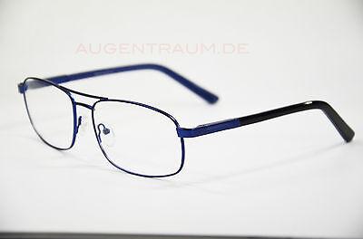 Lesebrille Herren Metall Brille Ersatzbrille Lesehilfe blau 1,0 bis 5,0 Neu