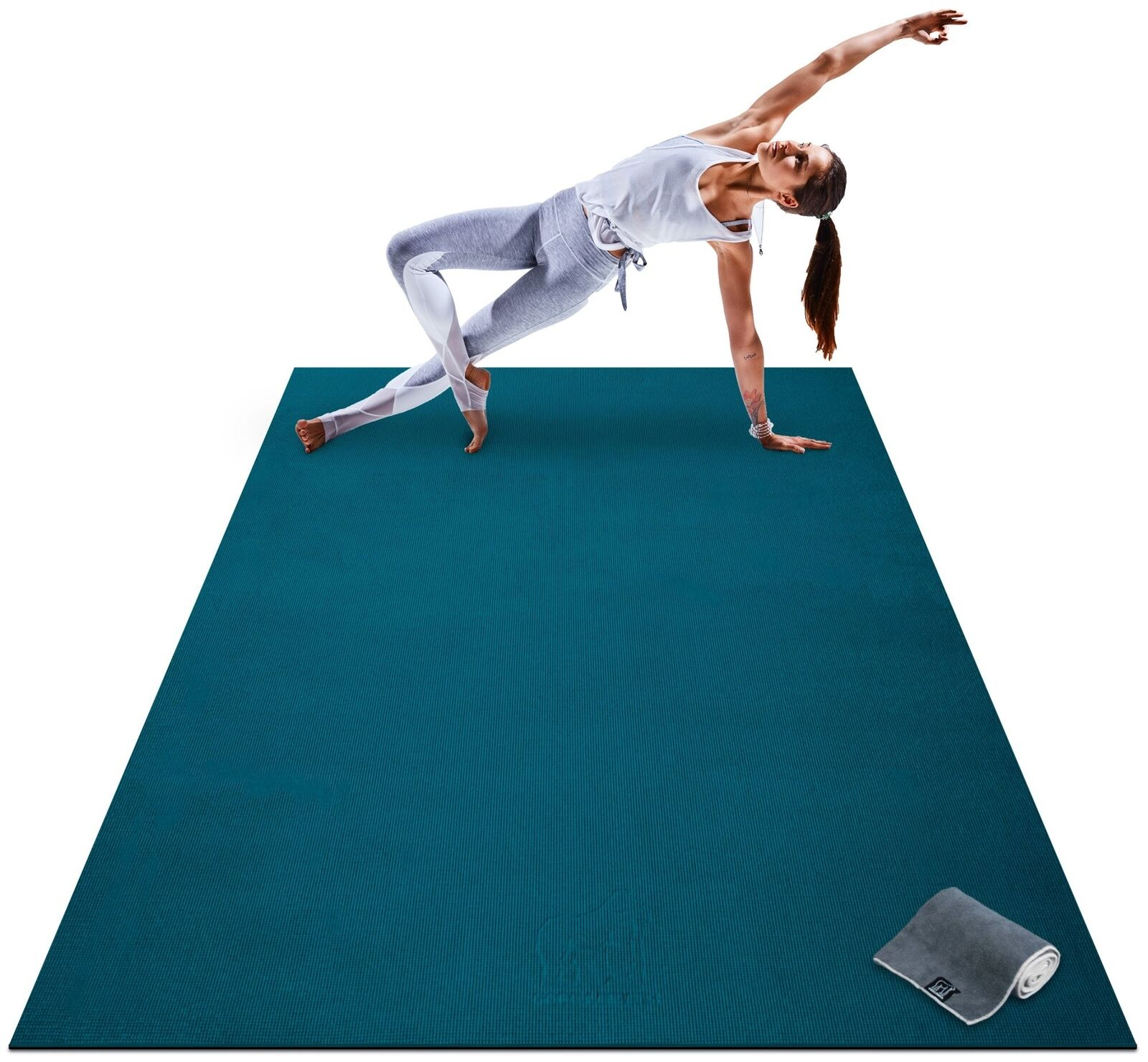 Premium Large Yoga Mat 7 x 5' x 8mm Extra Thick Wide Exercise Workout Blau