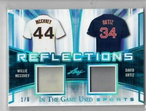 WILLIE-McCOVEY-DAVID-ORTIZ-2018-Leaf-In-The-Game-Used-ITG-Jersey-Relic-Patch-1-6