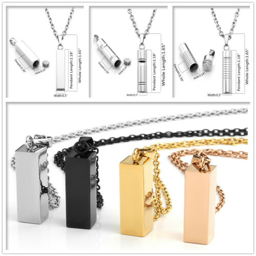 1pc Stainless Steel Openable Cylinder Memorial Urn Ash Keepsake Pendant Necklace