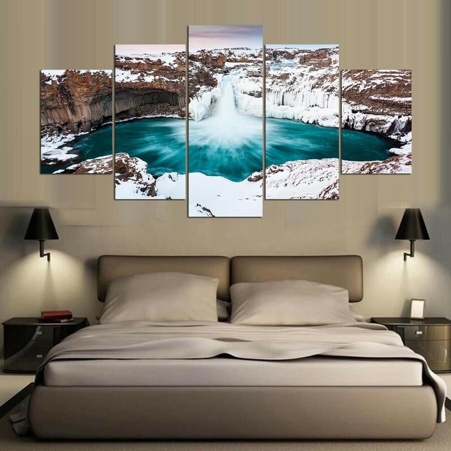 Aldeyjarfoss Waterfall Iceland Northern Winter 5 Panel Canvas Print Wall Art